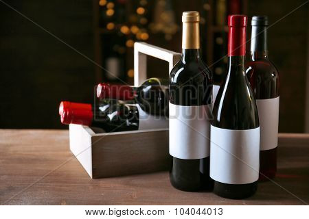 Luxury wine bottles on the table