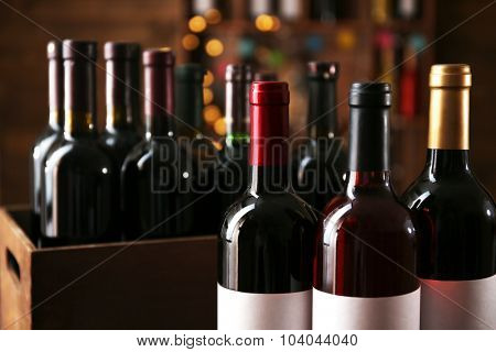 Wine bottles in cellar