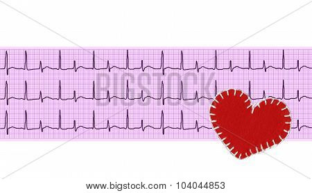 Heart Analysis, Electrocardiogram Graph (ecg) And Textile Heart