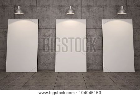Art gallery. Blank picture frames on brick wall background.