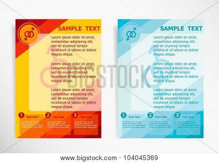 Male And Female Symbol On Abstract Vector Modern Flyer, Brochure Vector Template.