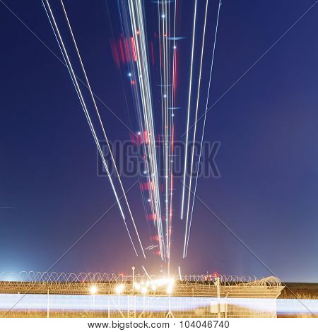 lights of aircraft on the glide path