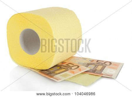 Roll of light yellow toilet paper and Euro banknotes isolated on white