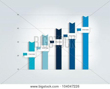 Blue Flat Chart, Graph. Simply Color Editable.