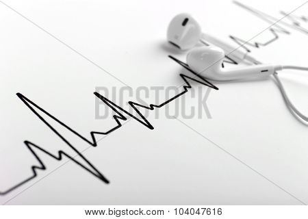 Earphones on cardiogram background