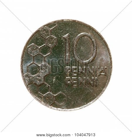 Ten Penny Coin Finland Isolated On A White Background. Top View.