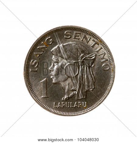 Coin One Cents Philippines Isolated On White Background. Top View.