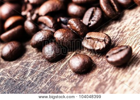 Coffee Beans On Grunge Wooden Table Top View Image, Macro