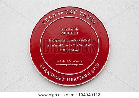 Plaque At Duxford Airfield