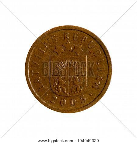 Coin One Centime Latvia Isolated On White Background. Top View.