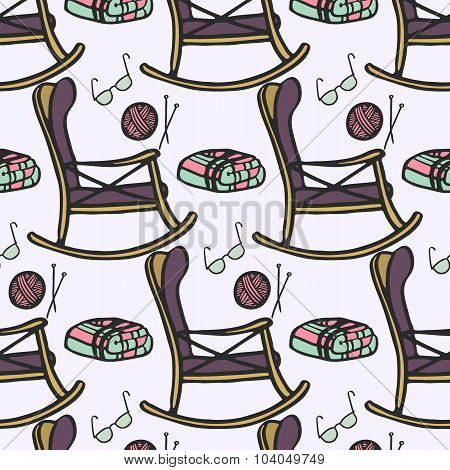 Nursing home. Seamless pattern with hand-drawn cartoon chair for rest, knitting, glasses and plaid.