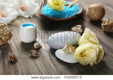 Spa set on wooden table closeup