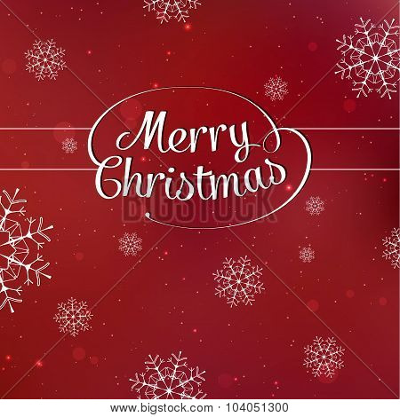 Merry Christmas interlaced lettering with snowflakes on red background vector card