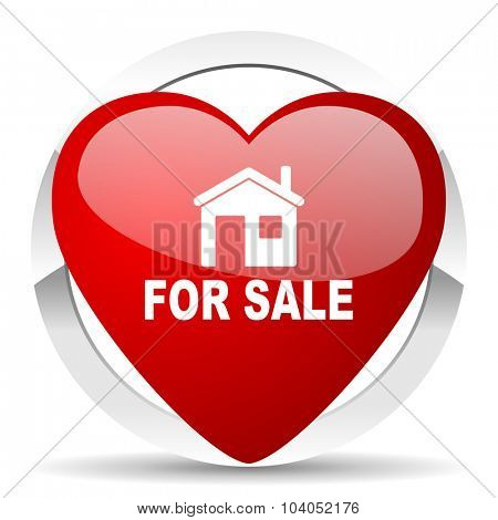 for sale red red heart valentine icon on white background