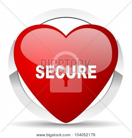 secure red red heart valentine icon on white background
