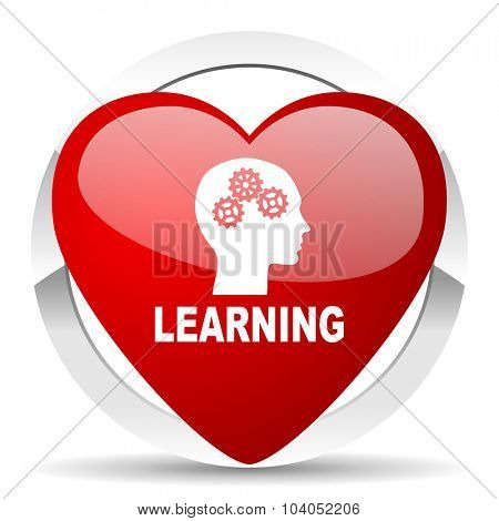 learning red red heart valentine icon on white background