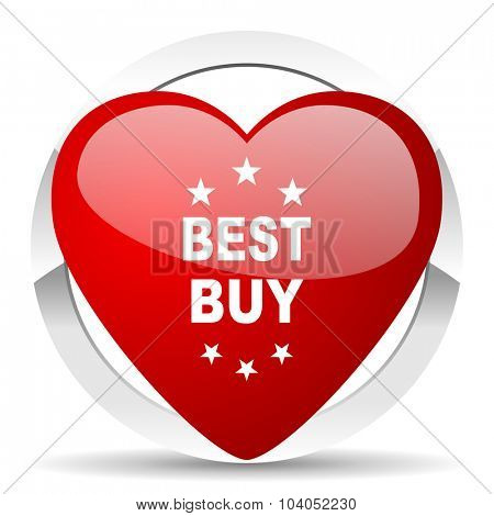 best buy red red heart valentine icon on white background