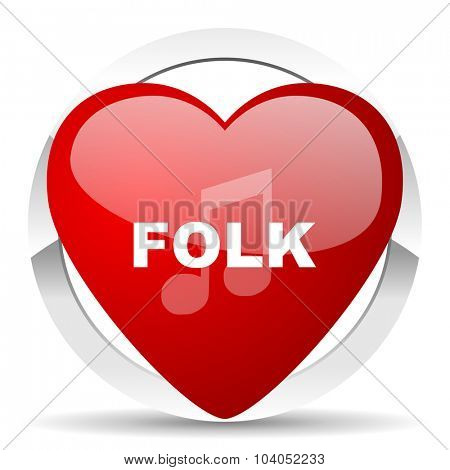 folk music red red heart valentine icon on white background