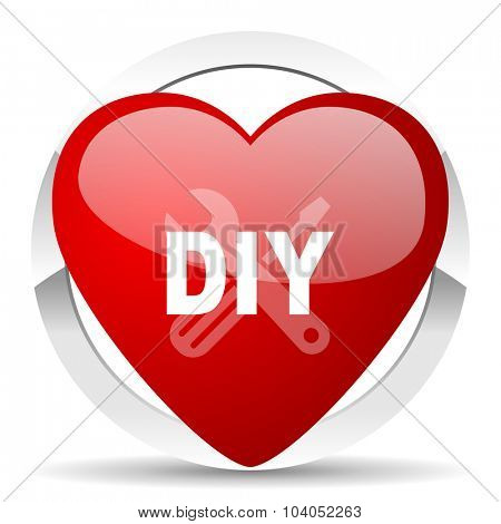 diy red red heart valentine icon on white background
