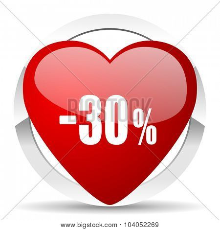 30 percent sale retail red red heart valentine icon on white background