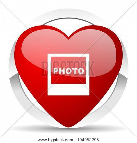 photo red red heart valentine icon on white background