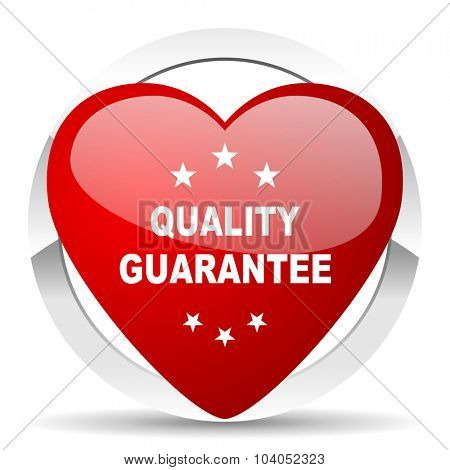 quality guarantee red red heart valentine icon on white background