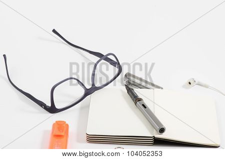 Office equipment with white background