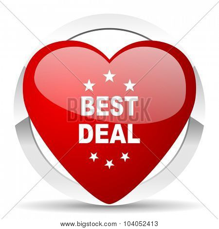 best deal red red heart valentine icon on white background