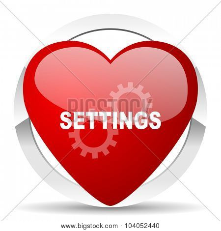 settings red red heart valentine icon on white background
