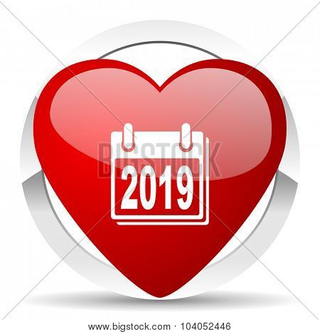 new year 2019 red red heart valentine icon on white background