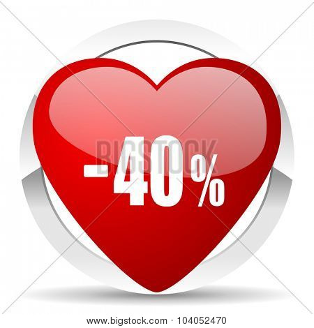 40 percent sale retail red red heart valentine icon on white background