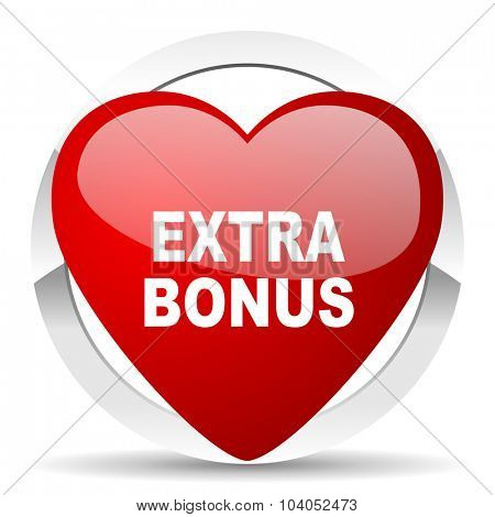 extra bonus red red heart valentine icon on white background