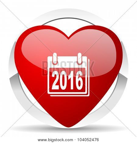 new year 2016 red red heart valentine icon on white background