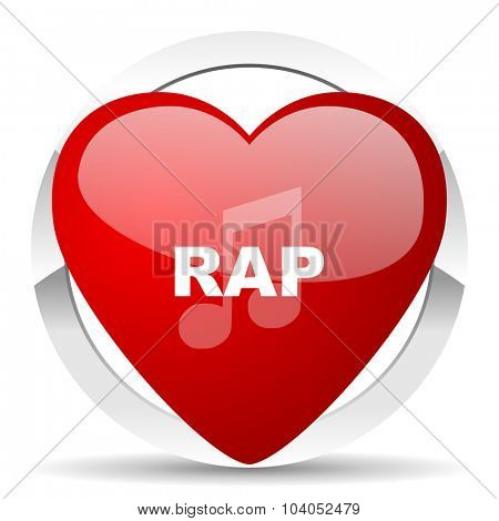 rap music red red heart valentine icon on white background