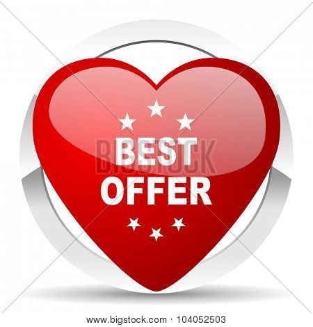 best offer red red heart valentine icon on white background