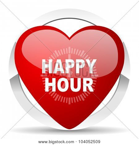 happy hour red red heart valentine icon on white background