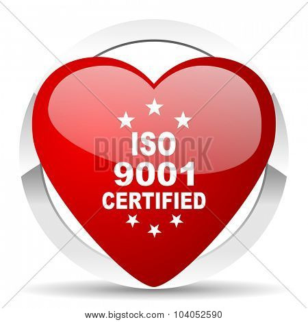 iso 9001 red red heart valentine icon on white background