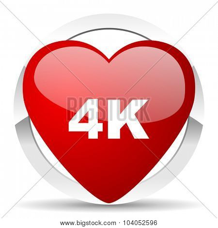 4k red red heart valentine icon on white background