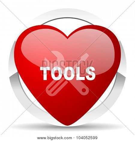 tools red red heart valentine icon on white background