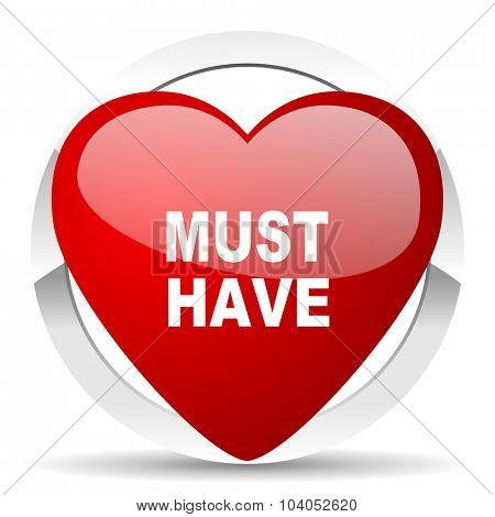 must have red red heart valentine icon on white background
