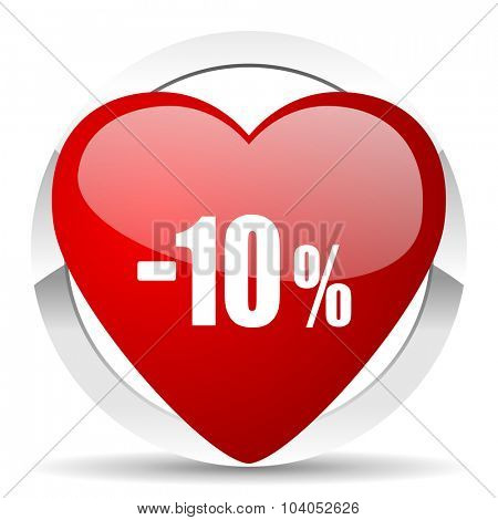 10 percent sale retail red red heart valentine icon on white background