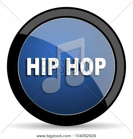 hip hop blue circle glossy web icon on white background, round button for internet and mobile app