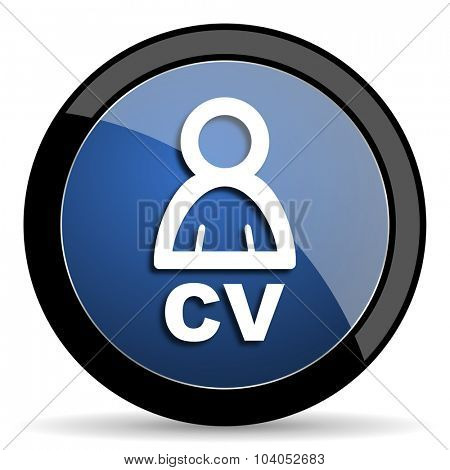 cv blue circle glossy web icon on white background, round button for internet and mobile app