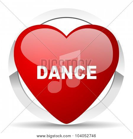 dance music red red heart valentine icon on white background