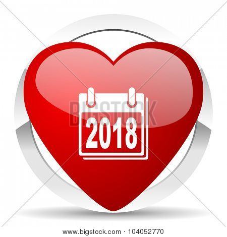 new year 2018 red red heart valentine icon on white background