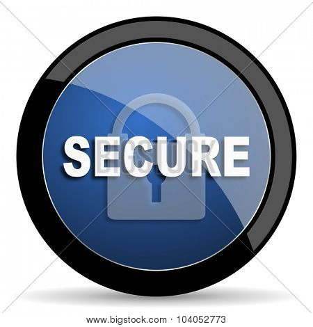 secure blue circle glossy web icon on white background, round button for internet and mobile app