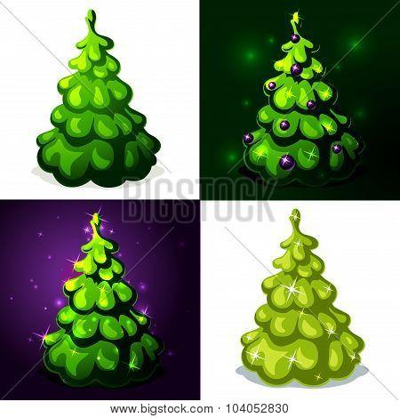 Green Christmas Tree - Vector Illustration