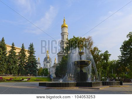 The Fountain In The Square In Front Of Cathedral Of The Assumption