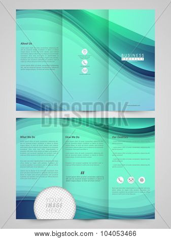 Glossy abstract Trifold Brochure, Template or Flyer design with two sided presentation and space to add image for your Business.