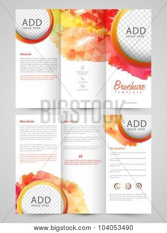 Abstract professional Trifold Brochure, Template or Flyer design with two sided presentation and space for your images.
